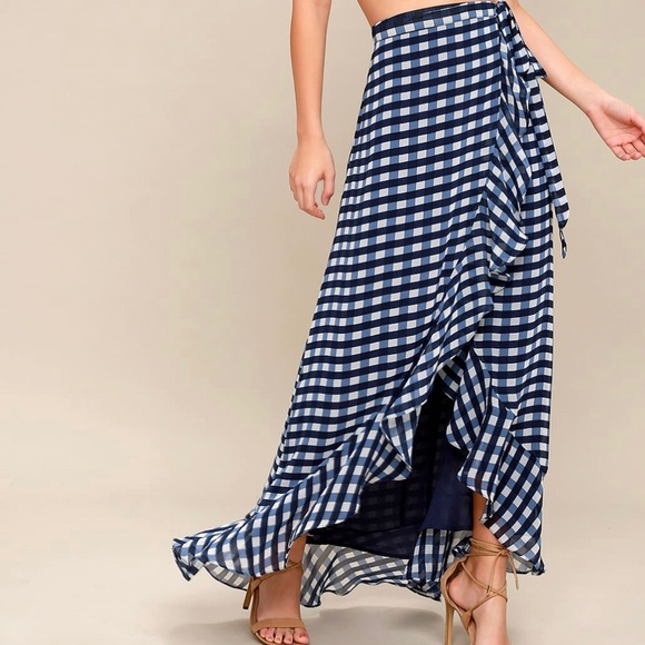2b74815ba0c53 Blue   White Gingham wrap maxi skirt
